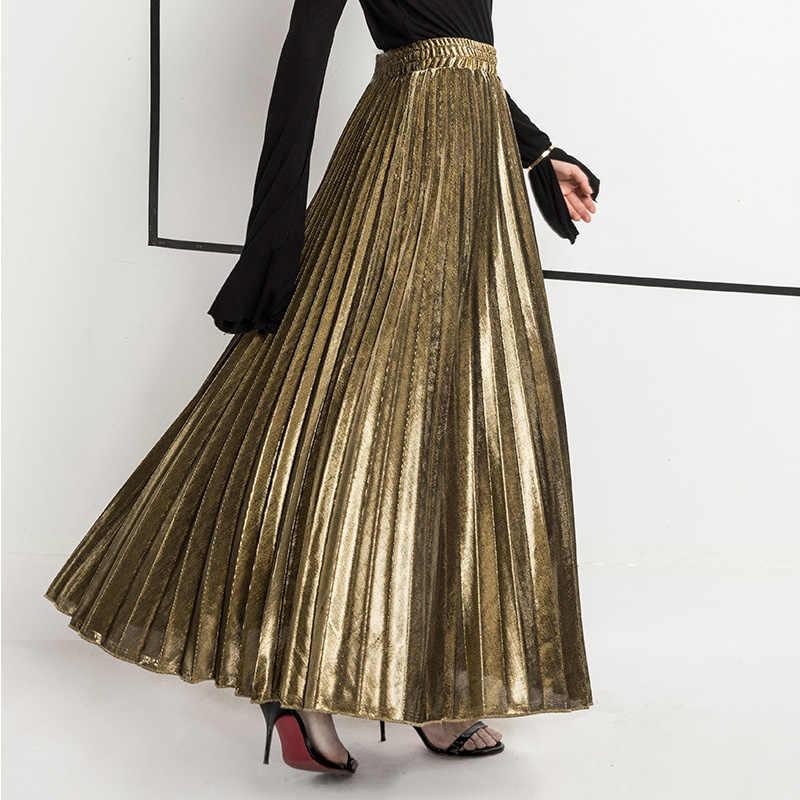 bb2191d98ea 2018 New Summer Suede Skirt gold silver Long striped elasticity Pleated  Skirts Womens Saias Midi Faldas