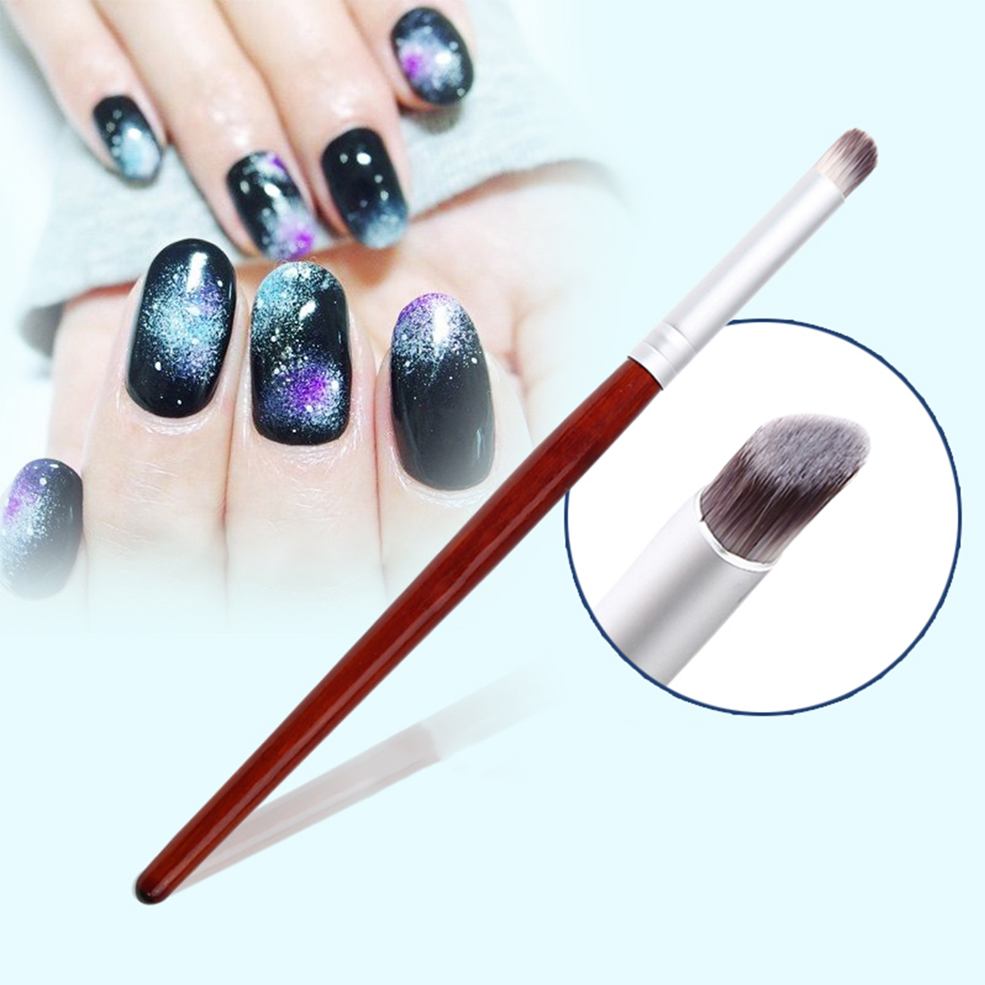 New Manicure Painting Shanding Pen DIY Salon Drawing Tool Dark Red Wood Handle Nylon Hair Ombre Gradient Nail Art Gel Brush