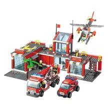 New City Fire Station 774pcs/set Building Blocks DIY Educational Bricks Kids Toys suitable with legoe Best Kids Xmas Gifts