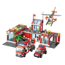 New City Fire Station 774 pcs/set Building Blocks DIY Educational Bricks Kids Toys suitable with legoe Best Kids Xmas Gifts