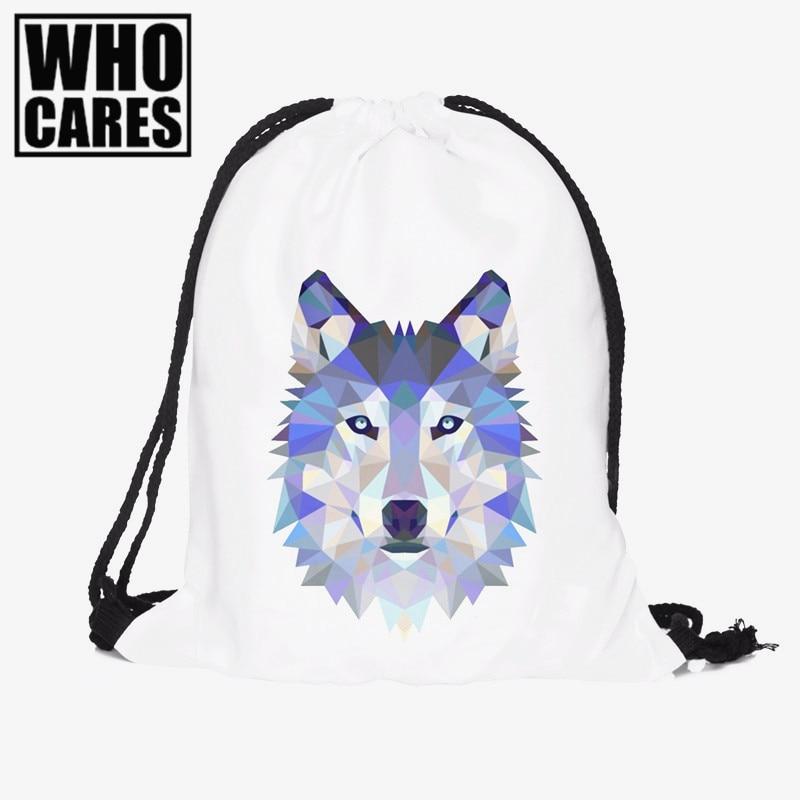 Wolf 3D Printing Drawstring bag backpack women 2016 Fashion who cares pattern mochila feminina Fravel bag backpacks sac a dos deanfun emoji backpack 2016 new fashion women backpacks 3d printing bags drawstring bag for men s79