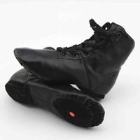 Free Shipping High Quality Women Men Kids Children S PU Leather Black High Top Jazz Shoes
