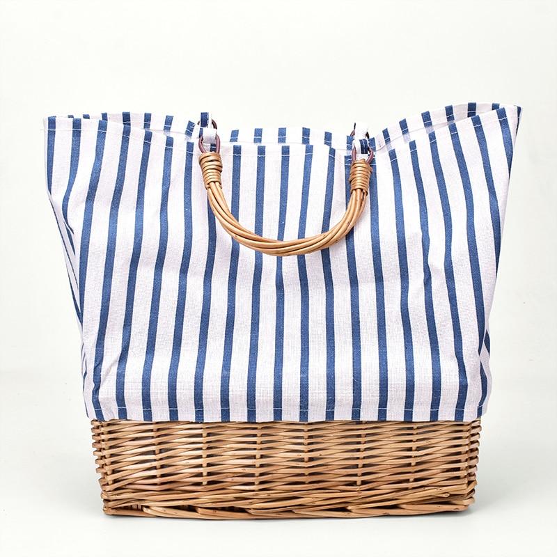 Striped Canvas Straw Bag Large-capacity Rattan Bag Portable Woven Handbag Woman Large Shopping Bag