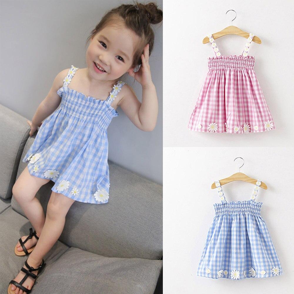 kids dresses for girls Sleeveless Lattice Flowers Print Mini Square Collar Dress Fashion Lovely Beautiful Girls Clothing