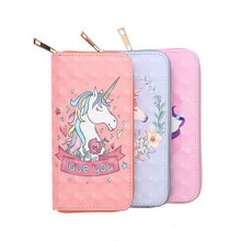 KANDRA PU Leather Unicorn Flamingo Print Long Wallets Lady Money Bag Zipper Coin Purse Girl Cards ID Holder Clutch Woman Wallet