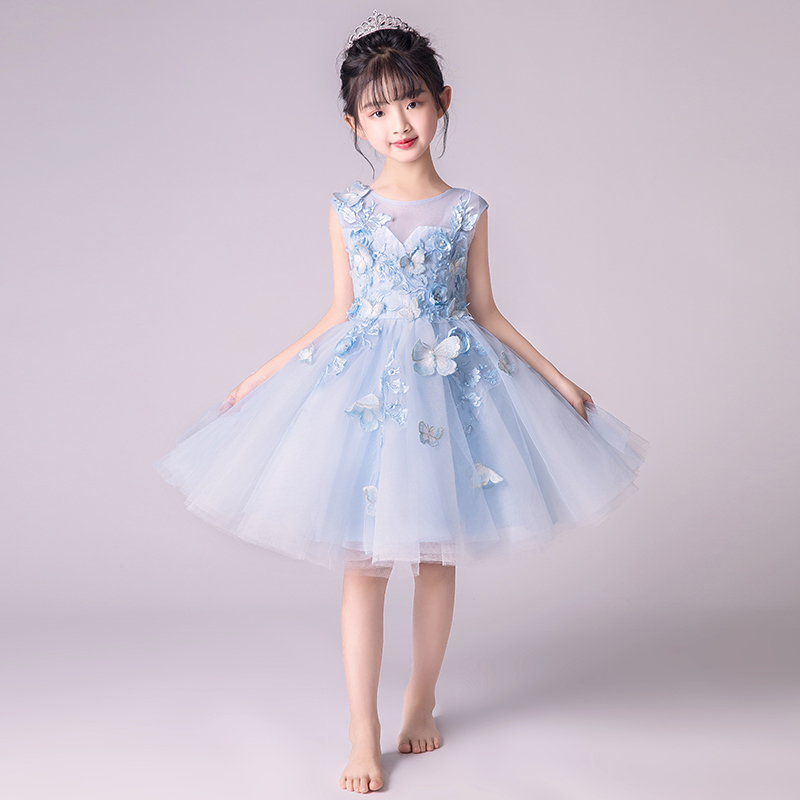 Floral Girl Dress Party Birthday Wedding Princess Toddler baby Girls Clothes Appliques Butterfly Children Kids Girl Dresses S28 [bosudhsou] als 5 kids girls floral dress baby girl butterfly party dresses children fancy princess a line dress wedding clothes