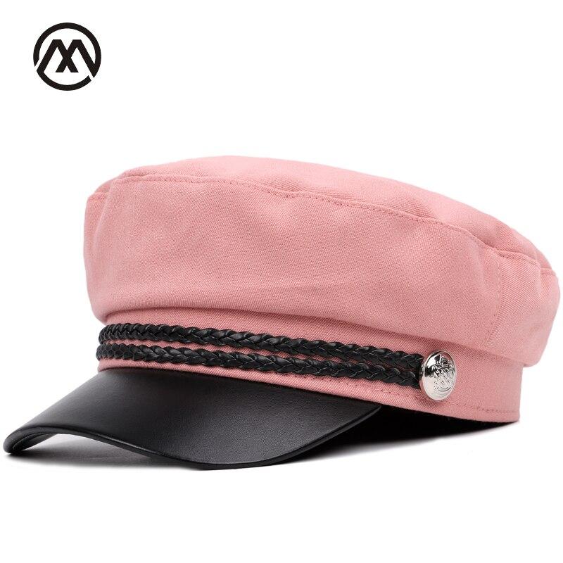 Hommes lavé de coton plat top casquette militaire solide couleur mode bouton chapeau de haute qualité en cuir niversal extérieure Ombre femmes mâle