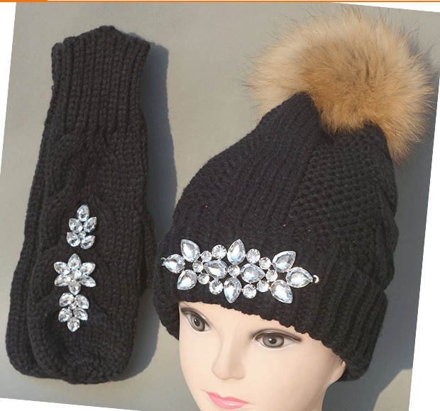 2015 NEW Autumn and winter sparkly gems brand knitting Warm wool real fur hat beanie skullie and gloves set unisex accessories fishtail braid with hair accessory