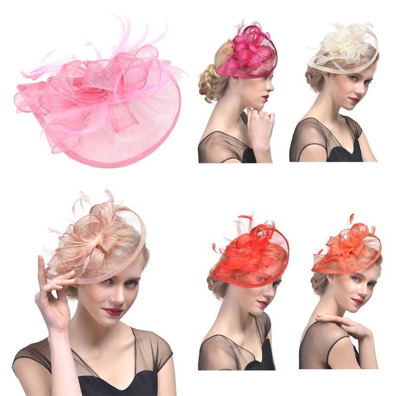 Bridal Wedding Hat Fascinator Feather Mesh Party Cocktail Headdress Hair Flowers New gai