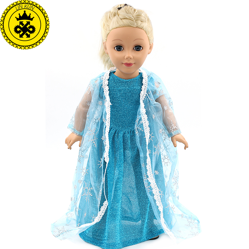 Girls Best Gift Elsa Blue Lace Dress American Girl Dolls Clothing of 18 inch Doll Dress MG-162 american girl doll clothes 4 styles elsa blue lace princess dress doll clothes for 16 18 inch dolls baby doll accessories x 2