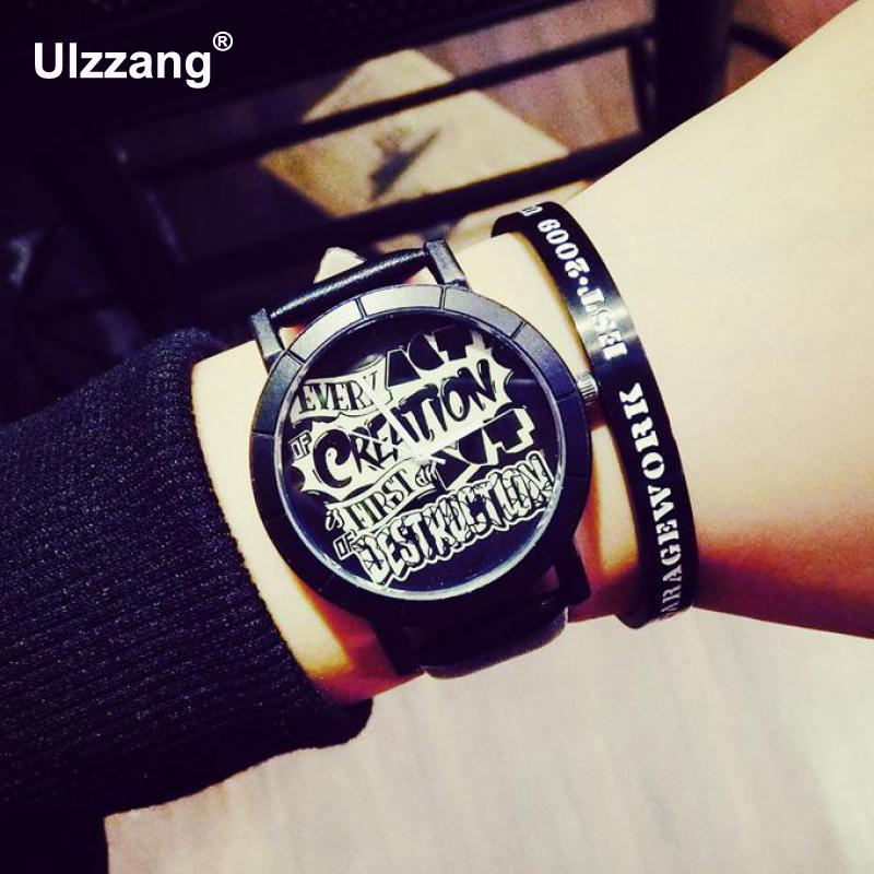 Hot Sale Hip Hop Cool Leather Quartz Analog Gift Wirstwatches Wrist Watch for Men Male Girl Young Black
