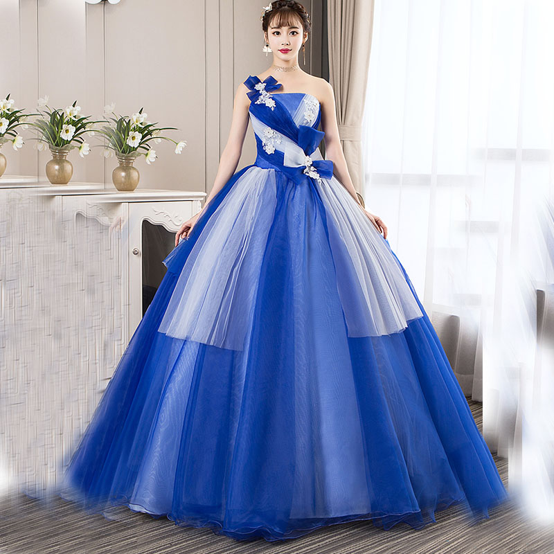 2019 Real Photos Quinceanera Dresses Debutante Prom Dresses Handmade Flowers One Shoulder Sweet 16 Masquerade Blue Ball Gowns