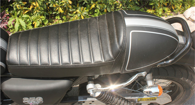 Large Universal Motorcycle Custom Cafe Racer Seat Matte&Glossy Black  Cover with