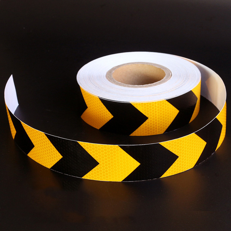 5cm Black Yellow Arrow Lattice Reflective Tape Sticker Car Vehicle Truck Motorcycle Roadway Parking Reminding Sign Warning Decal