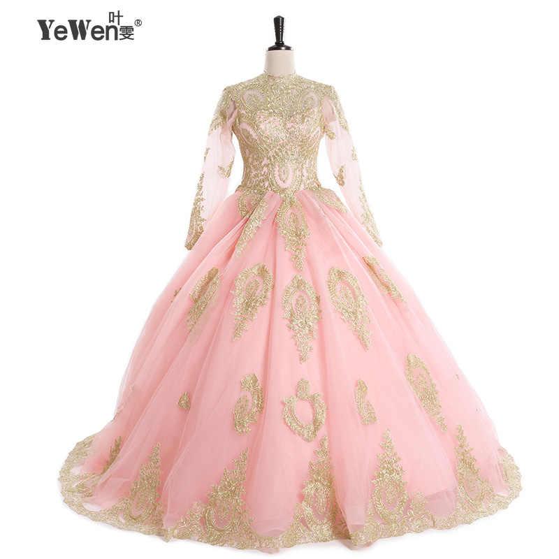 Бальное платье Свадебные платья Vintage 2018 розовый черный длинный рукав мусульманин слоновая кость/Золотые Кружева Аппликации Свадебные платья Robe De mariage