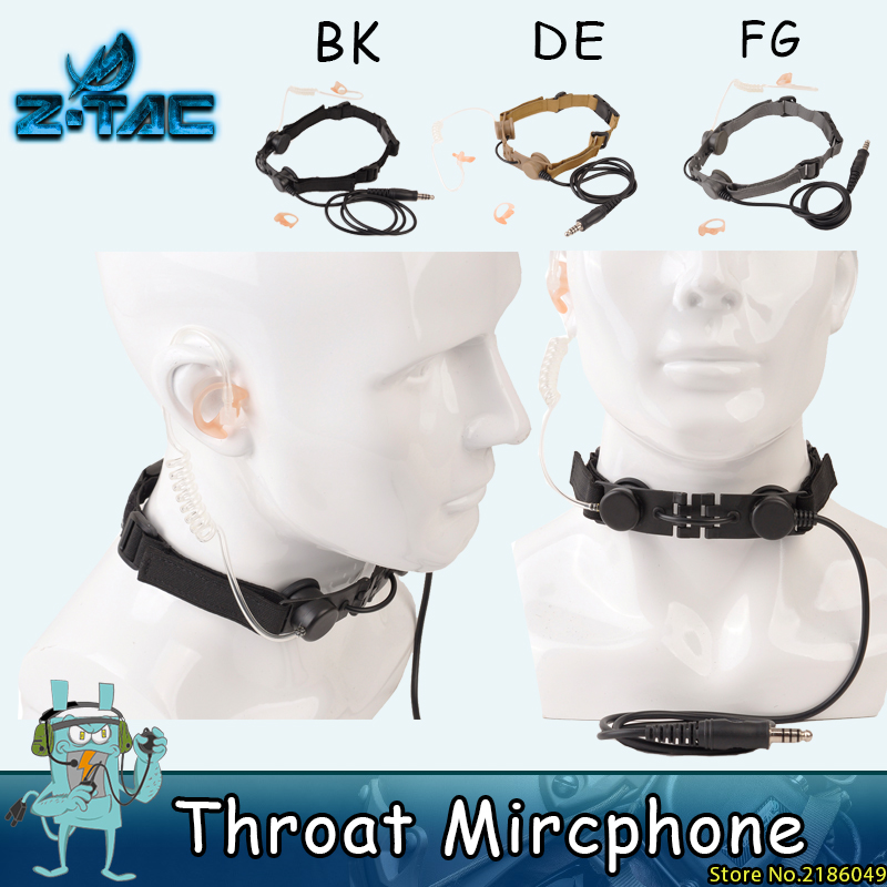 Z Tekstur taktikal Mikrofon Headset PTT Portable Radio MIC Leopard Memburu Airsofte THROAT MIC Earphone Z033