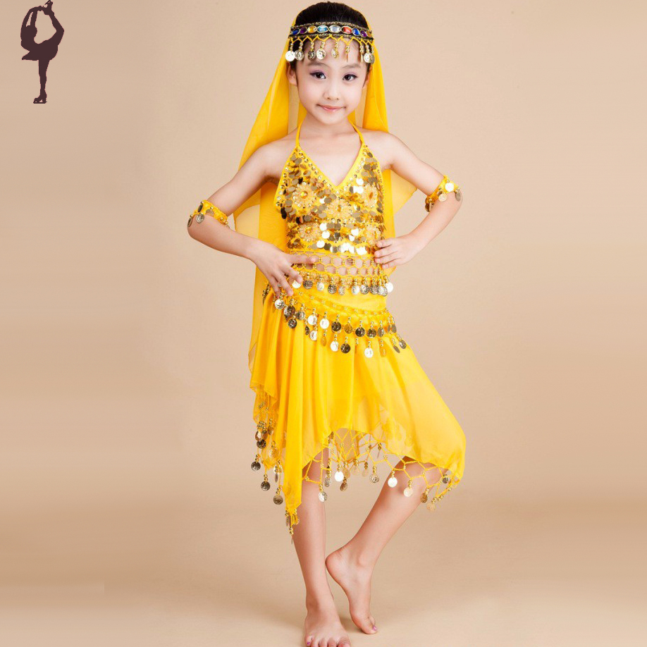 2015 New Girls Belly Dance Training Set Red/Yellow/Purple Child Belly Dance Costume