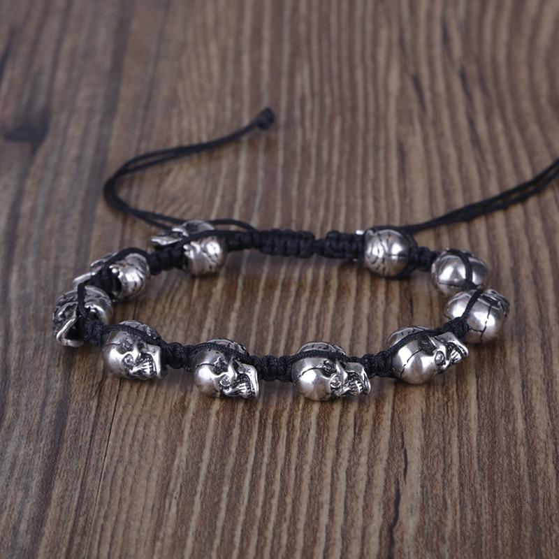 KEJIALAI Silver Metal Skull Viking Pirate Braided Bracelets For Men Women Personailty Adjustable Jewelry Bracelets YSBR037