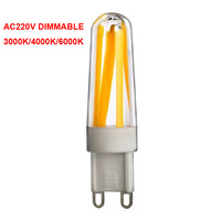 10Pcs Dimmable G9 LED 220V Light Bulb 4 Filament COB LEDS Lamp 3000k warm white 4000k natural white 6000k cool white For Home