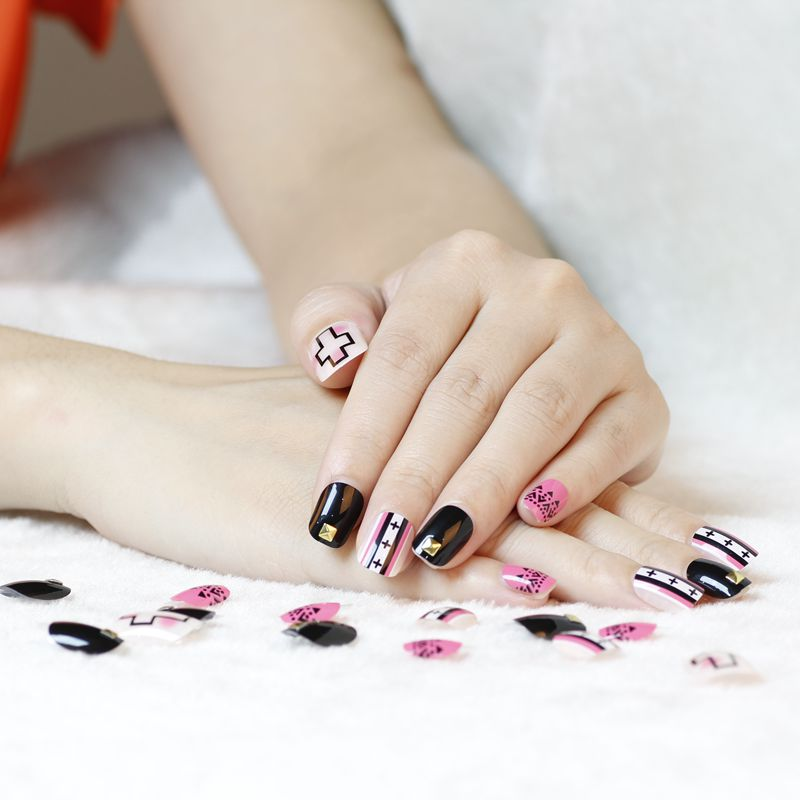 Funky Nails With Cross Design Vignette Nail Art Design Ideas