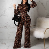2019 New Sexy Print Women Jumpsuits Fashion Lantern Sleeve Top And Bandage Wide Leg Pants Party Bodysuits Plus Size S 2XL