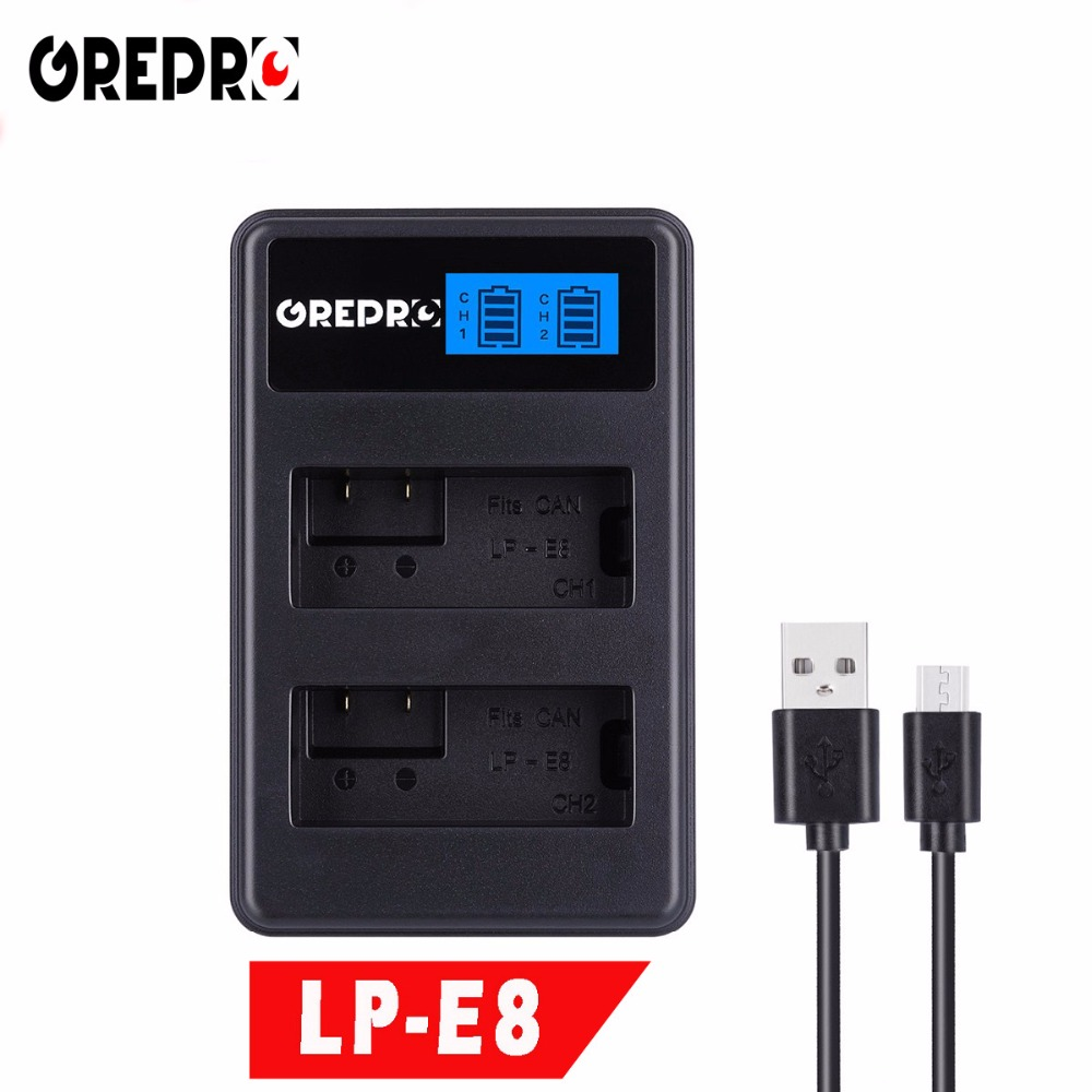 GREPRO LCD Display USB Dual Battery Charger for Canon LP-E8 LPE8 LP E8 Camera EOS 550D 600D 650D 700D X4 X5 X6i X7i T2i T3i camera battery charger cradle for canon lp e8 100 240v 2 flat pin plug