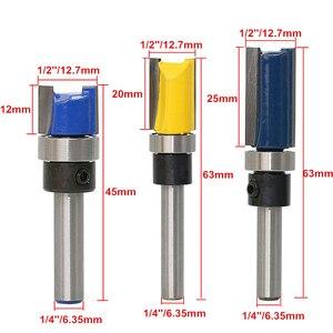 Image 3 - 1/4 Haste Reta Bit Madeira Flush Bit Guarnição Router Rolamento Ferramentas de Carpintaria Madeira Fresa 12.7mm de Diâmetro