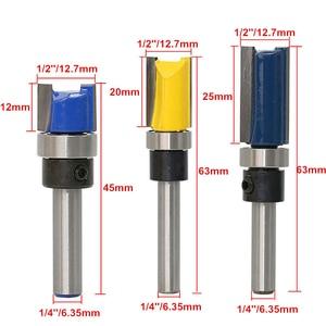 Image 3 - 1/4 Tige Droite Bit Bois Version Flush Routeur Palier Bits Bois Fraise 12.7mm Diamètre Menuiserie Outils