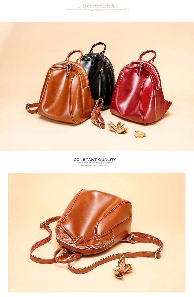 Backpacks Ladies Leather Casual Simple Shoulder Bag Oil Wax Leather Vertical Models Square Travel College Wind Multicolor Backpack