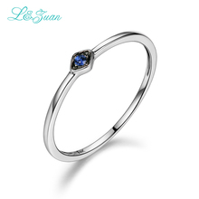 L&Zuan Sapphire Jewelry 14K White Gold Natural Round Small Blue Stone Fashion Rings for Women Fine Jewelry Party Gift 0016-1