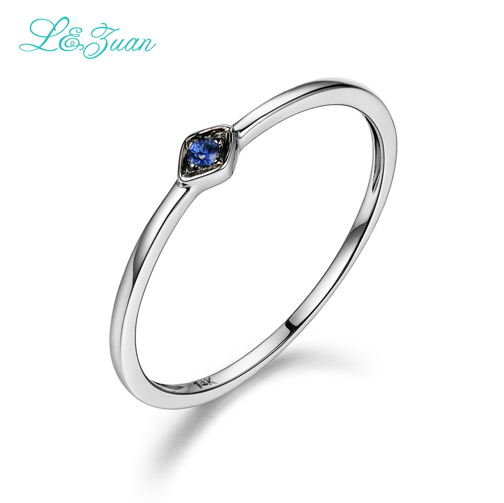 L&zuan Sapphire Jewelry 14k White Gold Natural Round Small Blue Stone  Fashion Rings For Women Fine