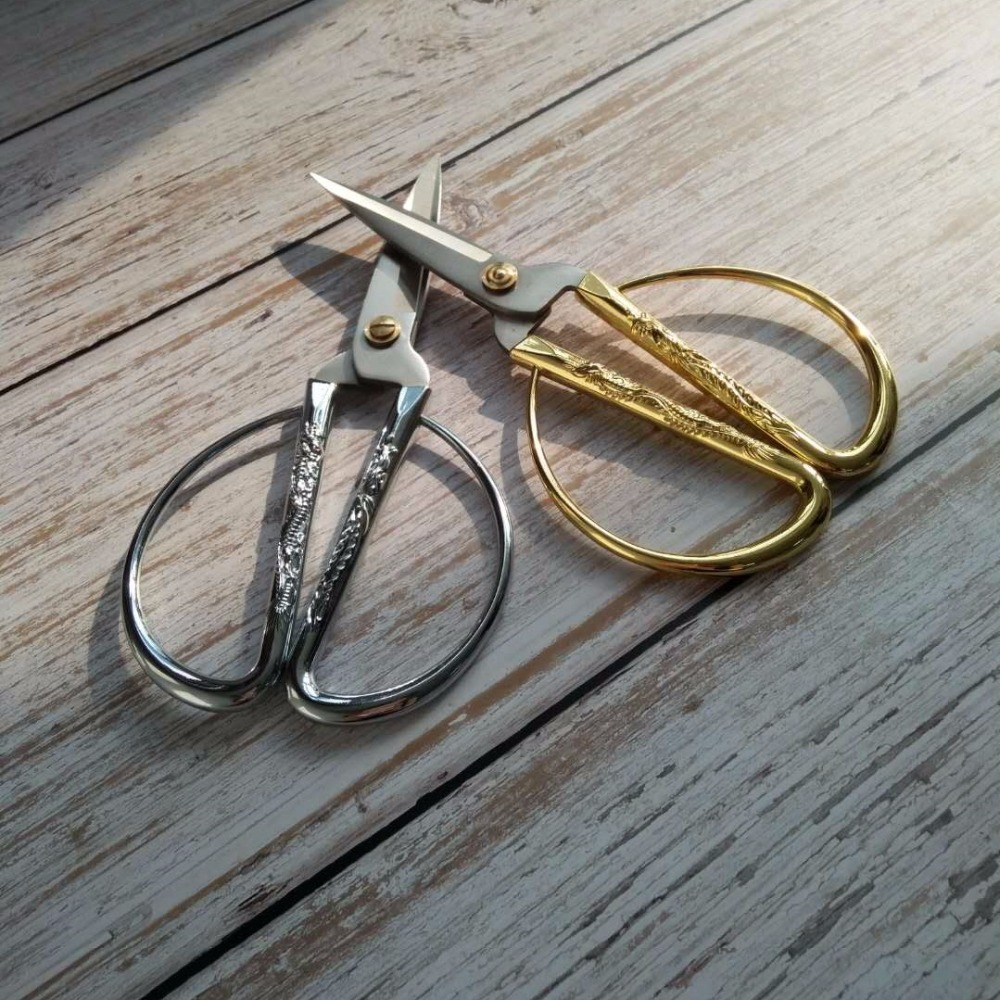 Dragon and Phoenix scissors household Gold and Silver Stainless Steel Tailor Sewing Scissors Blade Dressmaking Shears in Scissors from Tools
