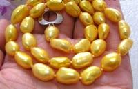 CLASSIQUE 11mm d'or baroque perles d'eau douce collier B479 Usine En Gros prix Femmes Cadeau mot Bijoux