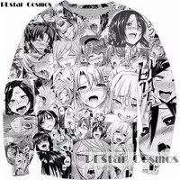 PLstar Cosmos Ahegao Collage Print Anime Sweatshirt Shy Girl Sexy Hoodies Men Women Casual Sportswear Pullovers