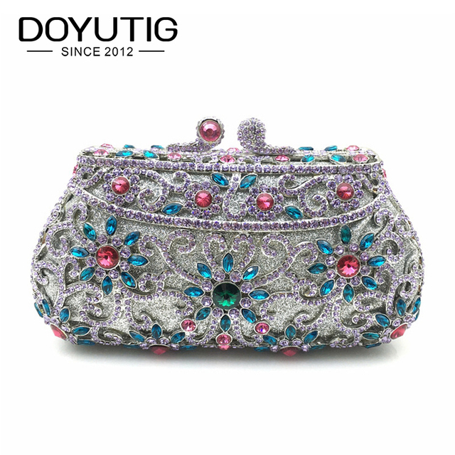 New Arrival Women s Clutch Purse Silver Crystal Evening Bag Women Wedding  Diamantes Party Bridal Handbag Lady 4914497888eca