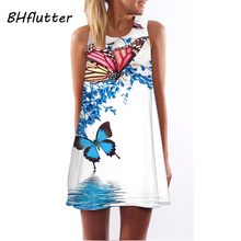 Floral Print Tunic Sleeveless Short Chiffon Dress