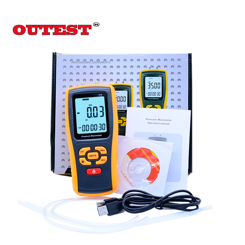OUTEST GM510 Portable Digital LCD display Pressure manometer 50KPa Pressure differential manometer pressure gauge benetech gm510 2 6 lcd handheld pressure manometer orange black 4 x aaa