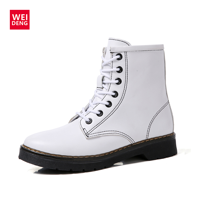 WeiDeng Motorcycle Genuine Leather Shoes Martin Boots Fur Short Plush Lace Up Winter Flat Bottes Plateforme Womens Boots Size 43 ...