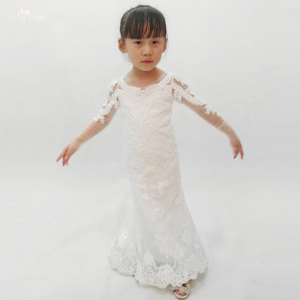 FG60 Real Pictures Yiaibridal Long Sleeve First Communion Lace Mermaid Flower Girl Dress
