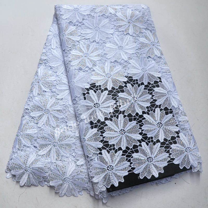 2018 New arrival white african guipure lace cord lace fabric with stones 5 yards per piece