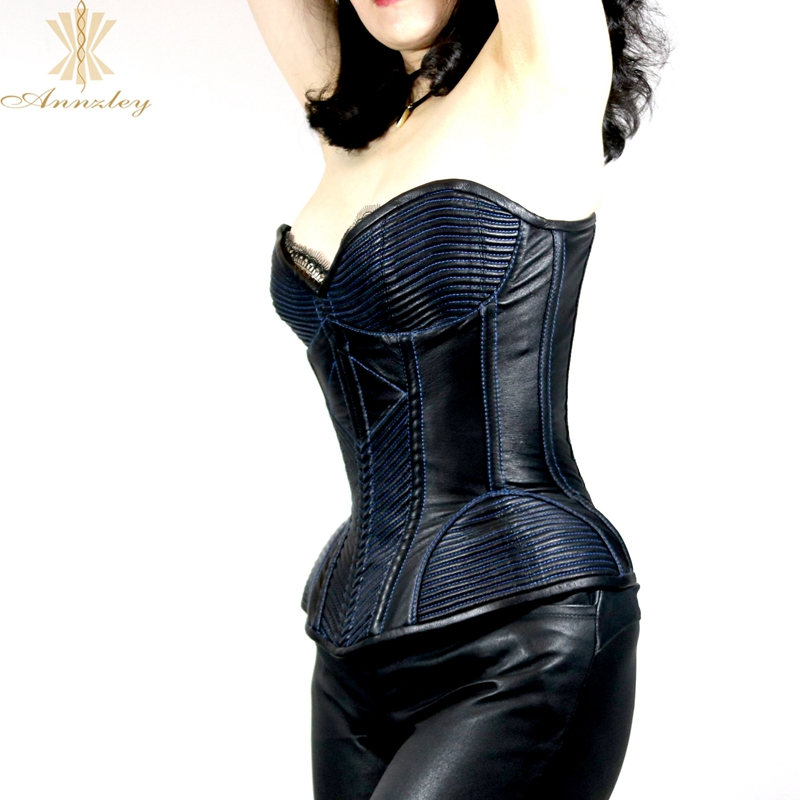 47425089bc2 ... Annzley Top Quality Side Zipper Genuine Leather Steel Boned Overbust  Corset (11) ...
