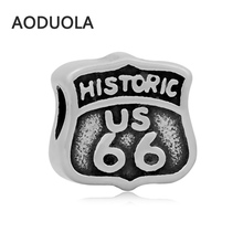 2Pcs a Lot Stainless Steel US Route 66 beads DIY Big Hole Bead for Jewelry Making Fit For Pandora Charm Bracelet
