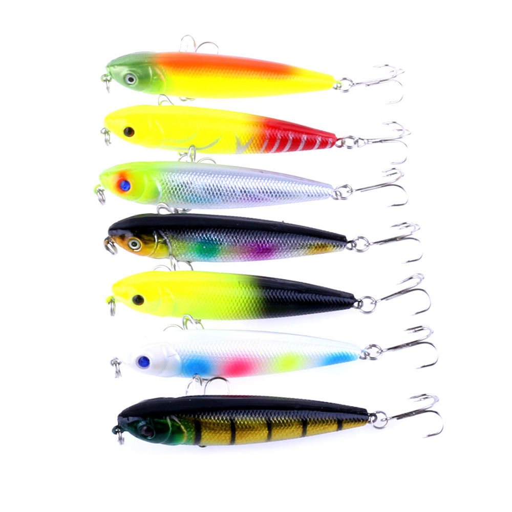 50pcs 80mm Fishing Lure Crankbaits Pencil Bass Hooks 8CM 8 6G 6 HOOKS plastic hard bait