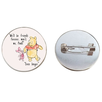 Kawai Cartoon Yellow Bear Pins Brooches Cute Animal Budge Mini Round 25mm Glass Cabochon Brooch Jewelry Accessories image