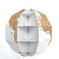 1 PC DIY Scratch Globe 3D Stereo Assembly Globe World Map Travel Gift Craft Desktop Ornaments