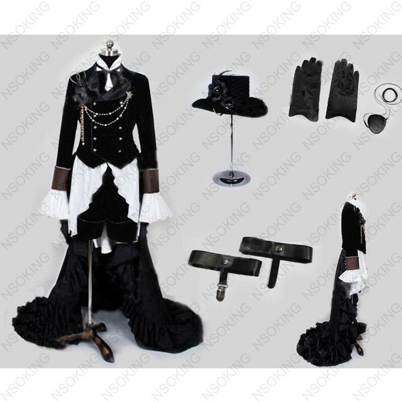 Cos Аниме Kuroshitsuji Черный Дворецкий Ciel Phantomhive вечерние платья Косплей Костюм, полный набор на заказ