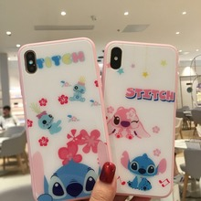 Cute Cartoon Stitch Tempered Glass Phone Case+Full Screen Protective Film For iPhone XS XR MAX X 6 6S 7 8 Plus Case