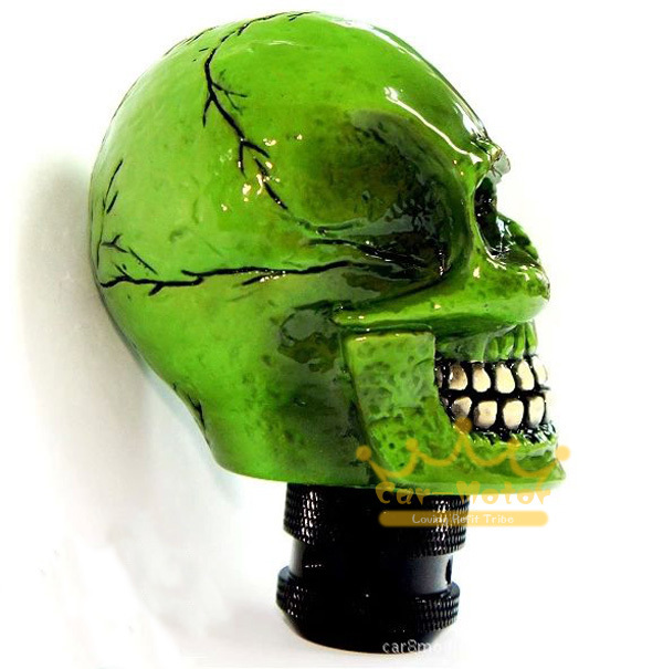 1 kits Car Auto Manual 3D Green Skull Resin Craft Refit Gear Shifter Knob
