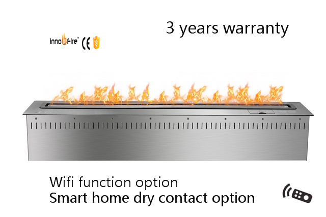 48 Inch Remote Control Intelligent Silver Or Black Ethanol Stainless Steel Stove Fireplace