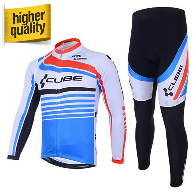 Can be Mix Size!!! White&Blue CUBE Pro Team Long Sleeve Cycling Clothes Set Bike Riding Wear Jersey+Gel Pad Cycling Clothing Kit
